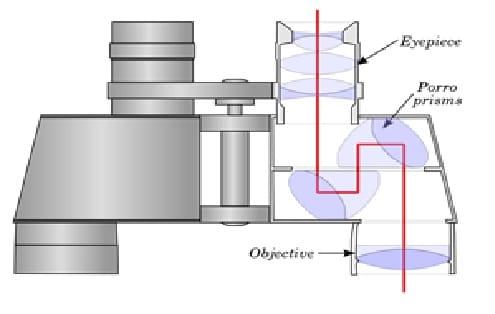 Internal structure of Porro prism binoculars